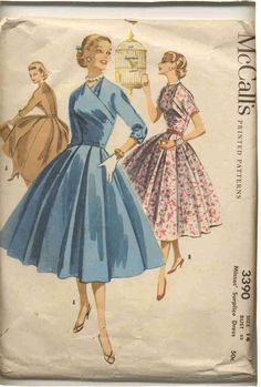 15e553a0ee Items similar to McCall s 3390 Vintage dress pattern with surplice waist on  Etsy