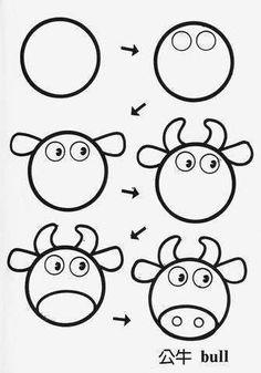 Easy Drawings draw bull cartoon tutorial step by step for kids Easy Flower Drawings, Easy Drawings For Kids, Butterfly Drawing, Drawing For Kids, Children Drawing, Cow Drawing, Circle Drawing, Doodle Drawings, Cartoon Drawings