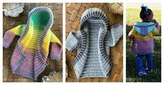 This Child Size Hooded Cardigan Free Crochet Pattern is surprisingly easy to make. The tutorial will make everything clear for you. Crochet Jumper Pattern, Jumper Patterns, Crochet Cardigan, Easy Crochet Patterns, Baby Patterns, Knitting Patterns, Crochet Hoodie, Crochet Bebe, Crochet For Kids