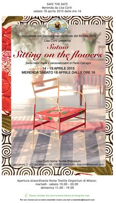 """Fuori Salone 2015 dal 14 al 19 Aprile """"Sitting on the flowers"""" Home Textile Emporium Lisa Corti  Via Lecco 2 Milano"""