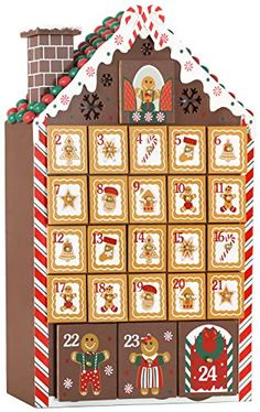 White with LED Lighting 9.5 x 17.7 x 3.1 inches Wooden House BRUBAKER Advent Calendar