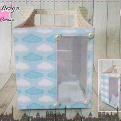Anna Design - Caixinha maleta com visor chuva de amor & bênção menina 01 - em scrap