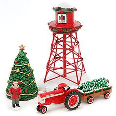 Holiday Water Tower & Figurines | ShopCaseIH.com. The Farmall Water Tower is one of a set of six lighted Farmall Holiday Village buildings. Water Tower has pine-garland decorations and a prominently displayed IH logo; and it comes with a decorated tree, people figurines and a Farmall tractor with wagon, adding a greater touch of realism to your Farmall Holiday Village setup. Water Tower looks great when set up amid the Farmall Holiday Village and the Farmall Pride Train Set.