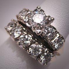 Vintage diamond wedding ring set. White gold, three carats. 1930s-1950s.