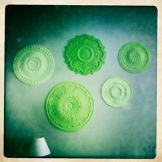 Ceiling medallions. Love the different shades!