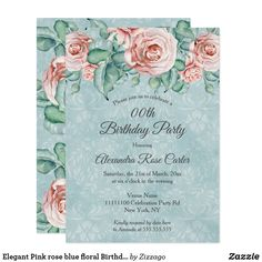 Shop Elegant Pink rose blue floral Birthday Party Invitation created by Zizzago. Bachelorette Party Invitations, Quinceanera Invitations, Pink Invitations, Birthday Party Invitations, Blue Birthday Parties, Sweet 16, Floral, Birthday Board, Birthday Ideas