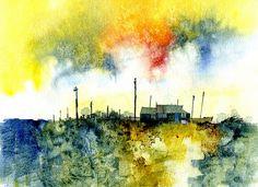 "Paul Steven Bailey, ""Shingle shack"", Watercolour, 11 x 8 inches, 2011"