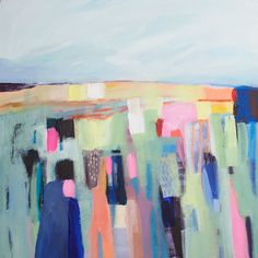 ABSTRACT painting green painting pink blue modern by LolaDonoghue, $245.00
