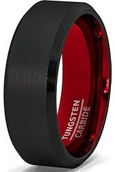 Mens Wedding Band Two Tone 8mm Black Tungsten Ring Brushed Beveled Edge Inside Scarlet Red Comfort Fit