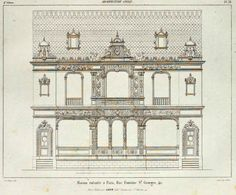 Elevation of a private residence on Rue Fontaine St. Architecture Drawings, Architecture Old, Classic Building, Old Paris, Taj Mahal, Outlines, Sketches, Layout, Maps