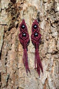 Macrame Earrings with Hematite Stones by Coco Paniora Salinas of Rumi Sumaq