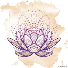 Vector: Lotus flower. Intricate stylized linear drawing isolated on grunge background. Concept art for Hindu yoga and spiritual designs. Tattoo design. EPS10 vector illustration.