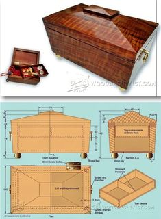 Tea Caddy Trinket Box Plans - Woodworking Plans and Projects | WoodArchivist.com  #WoodworkingProjects