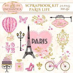 Paris Clipart, Rose Shop, Paris Theme, Decoupage Paper, Scrapbooking, Printing Services, Creative Design, Vintage World Maps, Printables