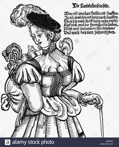 look for source. military, Landsknechts, prostitute, caricature, woodcut, Germany, circa 1560 Renaissance Image, Renaissance Clothing, Renaissance Fashion, Historical Clothing, German Costume, Landsknecht, 16th Century, Germany, Sketches