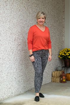 fall outfit with snakeskin jeans Cute Fall Outfits, Fall Fashion Outfits, Cool Outfits, Casual Outfits, Autumn Outfits, T Dress, Work Casual, What I Wore, Clothes For Women