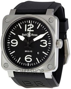 I'm a sucker for square cases, and this one is a beautiful example:  Bell and Ross Aviation Black Dial Steel Case Automatic 42 MM Mens Watch BR-03-92-STEEL