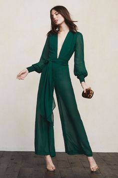Sometimes it's nice to show off a bit without really showing anything. The Veruschka Jumpsuit is a wide-leg, sheer georgette jumpsuit with a plunging neckline, smocked cuffs and a fitted waist (self belt included). It's also got hook/zip closures and partial lining. We've got you covered. Kind of.  https://www.thereformation.com/products/veruschka-jumpsuit-emerald?utm_source=pinterest&utm_medium=organic&utm_campaign=PinterestOwnedPins