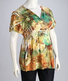 16.99 Take a look at this Green & Rust Floral Plus-Size Top by Simply Irresistible on #zulily today!