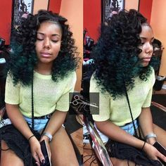 side-part sew in ombre black & green