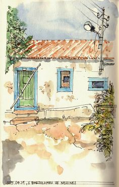 Urban Sketchers Portugal                                                                                                                                                                                 More Sketch Painting, Watercolor Drawing, Watercolor Artists, Watercolor Landscape, Watercolor Paintings, Watercolor Trees, Watercolor Portraits, Landscape Art, Urban Sketchers