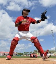 Yadier Molina warms up before a spring training game against the Detroit Tigers. Cards won the game 1-0. 3-16-15