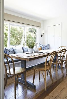 How Japanese Interior Layout Could Boost Your Dwelling Small Dining Room Remodel Mood Board, Inspiration Board, Banquette Seating, Cottage Dining Room Banquette Seating In Kitchen, Dining Nook, Dining Room Design, Dining Tables, Side Tables, Cottage Dining Rooms, Dining Room Windows, Living Room, Seaside Cottage Decor