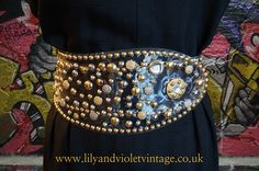 SOLD. Amazing see through belt covered with gold and silver studs and diamante, looks fabulous over a plain black dress. Excellent vintage condition. Guide size adjustable from 8-18. £45 incl. p&p.