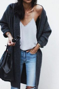 nice street style - skinny jeans, white top, grey long cardigan... by http://www.dezdemonfashiontrends.xyz/street-style-fashion/street-style-skinny-jeans-white-top-grey-long-cardigan/