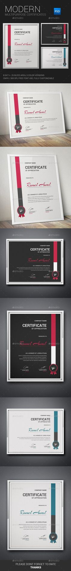 Certificate inches) + Bleed Area 2 Color Version 4 PSD file Potrait & Landscape Mode Print Ready 300 DPI, CMYK Free Fonts Used Easy to modify, change colors, dimensions, all text & icon editable. Certificate Layout, Certificate Of Merit, Certificate Of Appreciation, Award Certificates, Certificate Templates, Stationery Printing, Stationery Templates, Stationery Design, Print Templates
