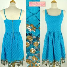 LILLY PULITZER JAVA Dot Dot Dot Lace Dress Size 2 Turquoise Cotton Blend Original Price $268  #LillyPulitzer #FullBottom #Versatile Click on Picture to Purchase from FavoriteStuff4u on eBay! DON'T MISS OUT!