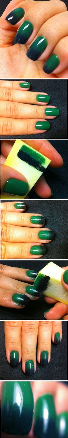 Emerald Green and Black Ombre Nails Art Design Tutorials / Best LoLus Nails Fashion