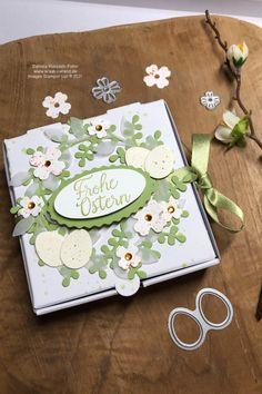 Unsere tollen Pizzaschachteln von Stampin' Up! lassen sich wirklich für jede Gelegenheit einsetzten. Hier habe ich sie für Ostern dekoriert. #bastelnfürostern #stampinup #kreativierend #diy #gutscheinverpackung #stampinupdemonrastede #bloghoppaperwitches #bloghopostern Stampinup, Paper, Blog, Image, Diy, Happy Easter, Papercraft, Stocking Stuffers, Gift Cards