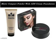 Makeup Combo Kiss Beauty Matte  Compact Powder 2 in 1  With ADS White Invisble Foundation  Product Name: Kiss Beauty Matte  Compact Powder 2 in 1  With ADS White Invisble Foundation Brand Name: ADS & Kiss Beauty  Product Type: Foundation  & Compact Powder Capacity: Foundation- 60 ml & Compact Powder- 20 gm Package Contains: It Has 1 Pack of Foundation  & 1 Pack of Compact Powder Sizes Available: Free Size *Proof of Safe Delivery! Click to know on Safety Standards of Delivery Partners- https://ltl.sh/y_nZrAV3  Catalog Rating: ★4 (1403)  Catalog Name: Free Gift Make Up Ads / Kiss Beauty/Yanqina Face Makeup Foundation/Compact Powder/Kajal/Eyeliner Vol 2 CatalogID_700389 C51-SC1540 Code: 491-4805436-