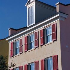 Update the look of your home instantly and on a budget with these various styles of window shutters. Red Shutters, Custom Shutters, Exterior House Colors Combinations, Exterior Paint Colors For House, Entrance Decor, House Entrance, Outdoor Window Shutters, House Paint Color Combination, Green Windows