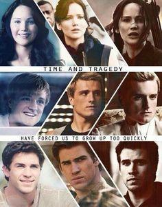 Katniss Everdeen, Peeta Mellark, Gale Hawthorne Hunger Games Catching Fire Mockingjay movie