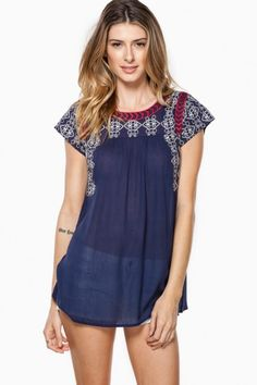 Sweet Disposition Blouse in Navy