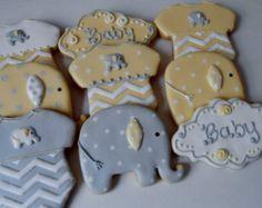 Elephant Baby Shower Cookies от DolceCustomCookies на Etsy