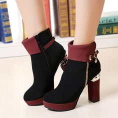Patchwork Side Zipper High Chunky Heels Short Boots in 2019 Ankle Boots, High Heel Boots, Heeled Boots, High Heels, Cute Shoes, Me Too Shoes, Winter Shoes, Winter Fashion Boots, Mode Outfits