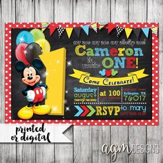 Mickey Mouse Invitation, Mickey Mouse 1st Birthday, Mickey Mouse Clubhouse Invite, Mickey Mouse Birthday Party, Mickey Invitation Chalkboard by AGMPrintableDesigns on Etsy https://www.etsy.com/listing/241194598/mickey-mouse-invitation-mickey-mouse-1st