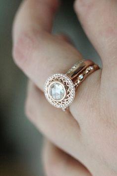 Rose Cut White Diamond 14K Rose Gold Ring Diamond by louisagallery