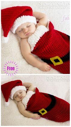 Christmas Crochet Santa Baby Cocoon Hat Set Free C. Crochet Baby Cocoon Pattern, Baby Girl Crochet, Newborn Crochet, Baby Blanket Crochet, Santa Baby, Newborn Outfit, Crochet Gratis, Free Crochet, Crochet Santa Hat