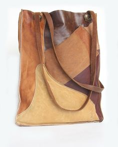 Remnant Leather Patchwork Tote from Recycled Leather, Leather Bags Handmade, Handmade Bags, Tote Handbags, Leather Handbags, My Bags, Purses And Bags, Patchwork Bags, Leather Pieces