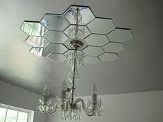 diy mirror ceiling medallion. border a ceiling fixture with decorative mirrors