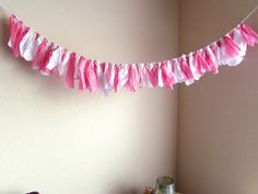 Rag Banner Spring Bunting Pink Gingham Wall Hanging by Itsewbella