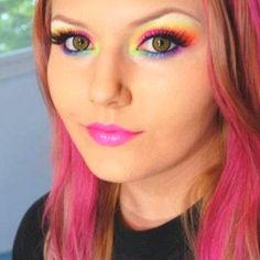Rainbow eyeshadow full face.