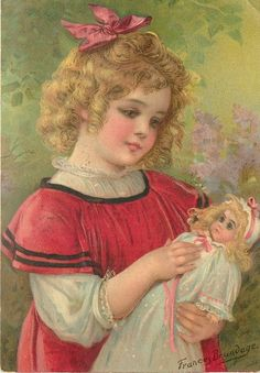 lovely illustration of a little girl with her doll