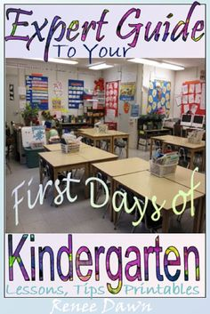 First Days of Kindergarten – teacher scripts, lessons, posters, printables and tips. AND School Rules – Detailed lessons, lists, charts, mini-book, bulletin board writing and rubric – Start the year with calm and confidence! AND Bathroom Rules – photos, routines, signs, safety, bathroom passes and sign-out sheet.