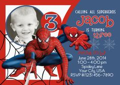 Spiderman Birthday Printable Photo Invitation