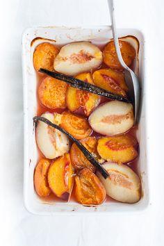 ... baked stone fruit with lemon mascarpone ...